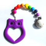 Teething ring Eule Lila/Rainbow | .