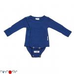 ManyMonths Woll-Wickelbody/Shirt (Kimono) Moonlight Blue   XS/S