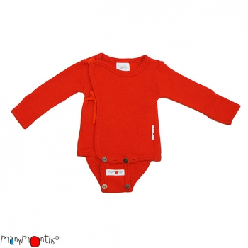 ManyMonths Woll-Wickelbody/Shirt (Kimono) Poppy Red | XS/S