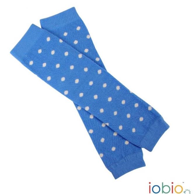 Baby Leg Warmers Hellblau-Dots Ecru 0405