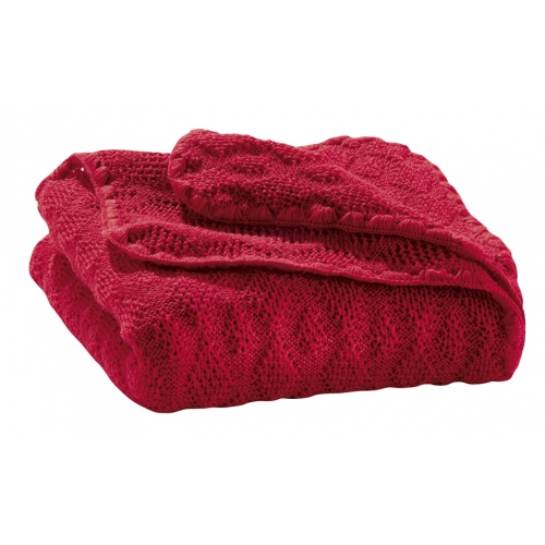 Knitted woollen baby blanket Red 03 | .