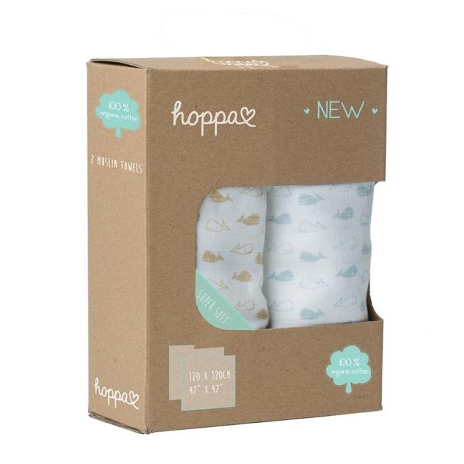 Hoppa Swaddles Duopack Whales soft blue - stone