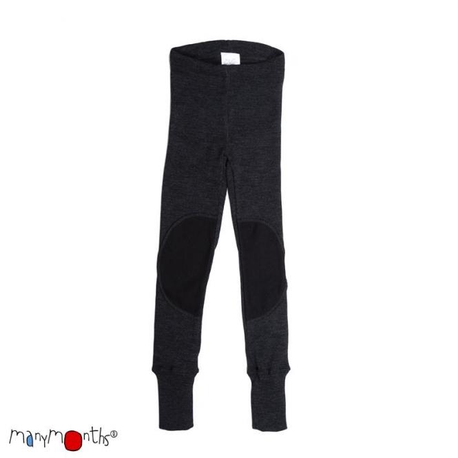 Manymonths Woll-Leggings mit Kniepad Foggy Black | S/M